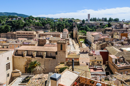 ebre: View of the town from the castle in Tortosa, Catalonia, Spain Stock Photo