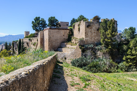 ebre: Walls and fortress ruins in castle of Tortosa in Catalonia, Spain.