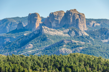 els: Landscape with the majestic rock formation of Els Ports Natural Park in Catalonia, Spain