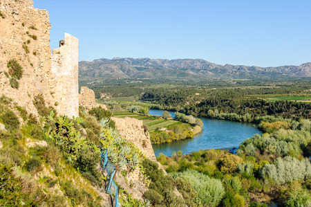 ebro: Sunset view of the Ebro River from the Castle of Miravet in Catalonia, Spain