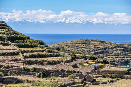 isla: Fields on the Isla del Sol on the Lake Titicaca in Bolivia