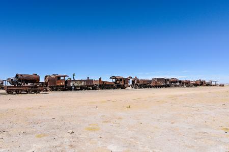 salt flat: Train cemetery near Salar de Uyuni, the biggest salt flat in the world, Bolivia