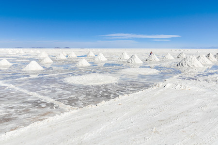 salar de uyuni: Piles of salt in Salar de Uyuni, the biggest salt flat in the world, Bolivia