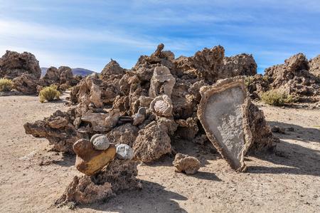 high plateau: Rocks in a necropolis in the High Andean Plateau desert in Bolivia
