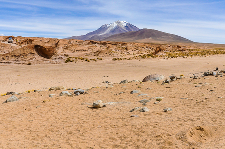 high plateau: View of a volcano in the High Andean Plateau desert in Bolivia