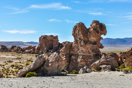 strange mountain: Strange rock formations in the high Andean plateau in Bolivia