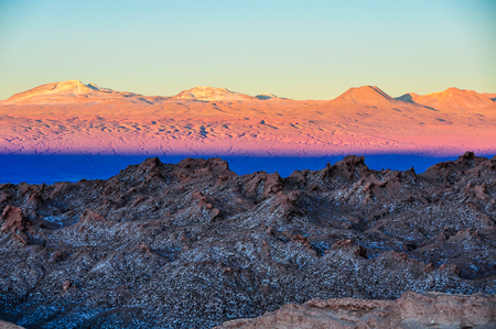 moon  desert: Sunset in the Moon Valley in the arid Atacama Desert in Chile
