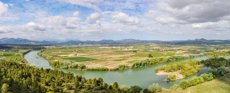 ebre: Panoramic view of the Ebro River from a hill near Tivissa in Catalonia, Spain Stock Photo