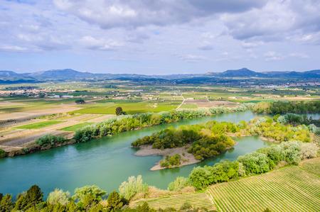 ebre: View of the Ebro River from a hill near Tivissa in Catalonia, Spain Stock Photo