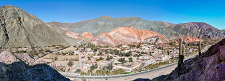 siete: Panoramic view of Cerro de los Siete Colores in the Quebrada de la Humahuaca, Purnamarca, Argentina