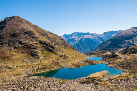 tourism in andorra: View of the Tristaina Lakes in Andorra Stock Photo