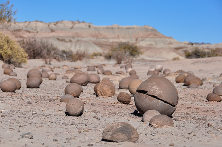 unesco: Round stones in the UNESCO World Heritage Ischigualasto Park in Argentina Stock Photo