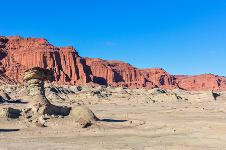 rock formation: The Mushroom rock formation in the UNESCO World Heritage Ischigualasto Park in Argentina
