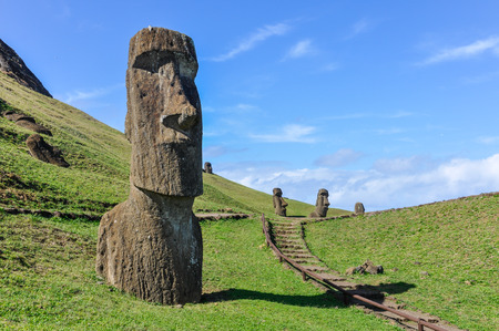 Moai statues in the Rano Raraku Volcano in Easter Island, Chile Stock Photo