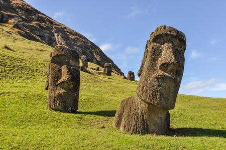 rano raraku: Moai statues in the Rano Raraku Volcano in Easter Island, Chile Stock Photo