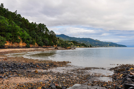 secluded: Secluded beach in the vivid Coromandel Peninsula in New Zealand