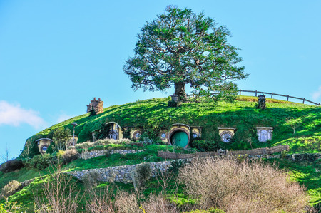 Hobbit houses in Lord of the Rings location Hobbiton, Matamata, New Zealand
