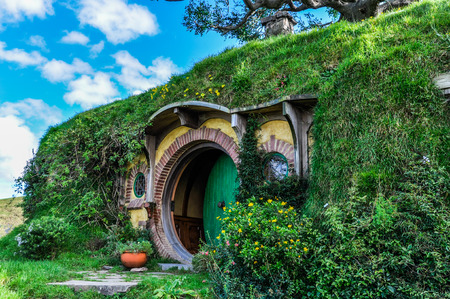 bilbo: Bilbo Baggins house in Lord of the Rings location Hobbiton, Matamata, New Zealand