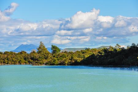 Water pond in the wonderland of the Wai-o-tapu geothermal area, near Rotorua, New Zealand