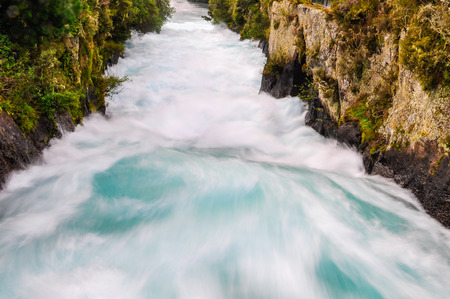 rushing: The rushing wild stream of Huka Falls near Lake Taupo, New Zealand Stock Photo