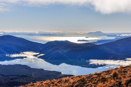 View of Lake Taupo and Lake Rotoaira during the Tongariro Alpine Crossing in New Zealand Stock Photo