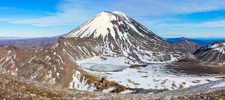 doom: Mount Doom and the South Crater in the winter Tongariro Alpine Crossing, New Zealand Stock Photo
