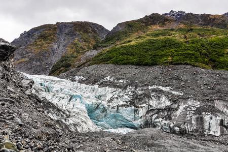 fox glacier: The view of Fox Glacier in winter in New Zealand