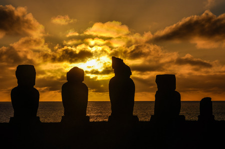 moai: Moai statue ruins in Vaihu site, on the coast of Easter Island, Chile