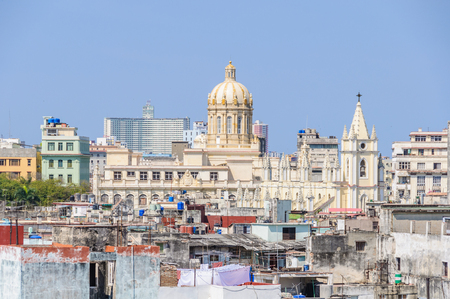 he old: View of he Old Havana neighborhood from the Cathedral roof in Havana, Cuba
