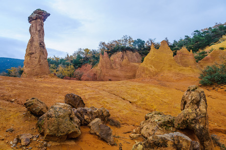 ochre: Colorful rock formations from ochre in the Colorado Provenzal, Provence, France Stock Photo