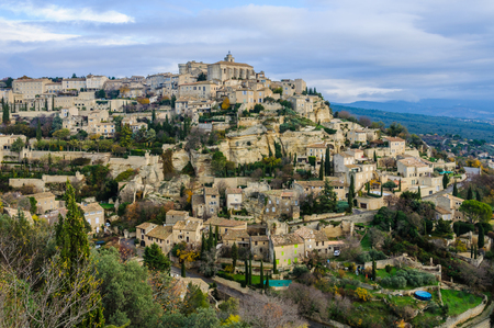 gordes: Panoramic view of Gordes in the Luberon Region of Provence, France