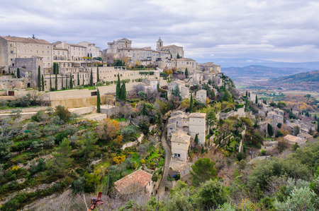 gordes: Panoramic scenery in Gordes, the Luberon Region of Provence, France