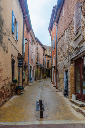 luberon: Loneliness on the streets of the hilltop village of Rousillon, Provence, France Editorial
