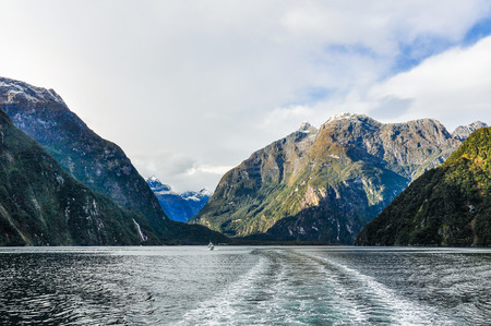 fiord: Entering the fiord in the Milford Sound, one of the most beautiful fiords in New Zealand