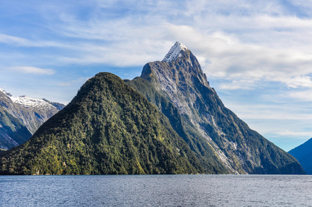 mitre: Majestic Mitre Peak in the Milford Sound, one of the most beautiful fiords in New Zealand Stock Photo