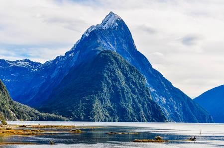 the close range: Mitre Peak from close range in the Milford Sound, one of the most beautiful fiords in New Zealand