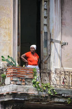 paseo: Woman in a balcony in Paseo de Marti in Havana, the capital of Cuba