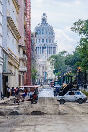 capitolio: The Capitolio under construction and the roads being prepared for Obamas visit in Havana, the capital of Cuba Editorial