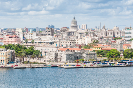 to the other side: View of the cityscape from the other side of the bay in Havana, Cuba