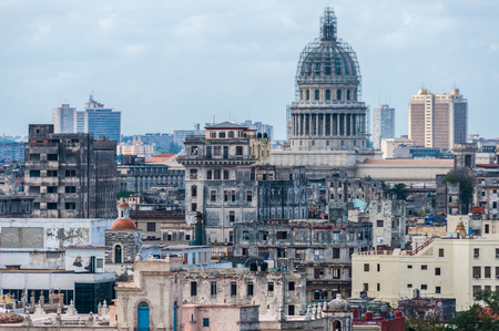 capitolio: View of the Capitolio and surroundings from the other side of the bay in Havana, Cuba Stock Photo