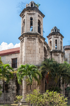 cristo: Church towers in plaza del Cristo square in Havana, Cuba