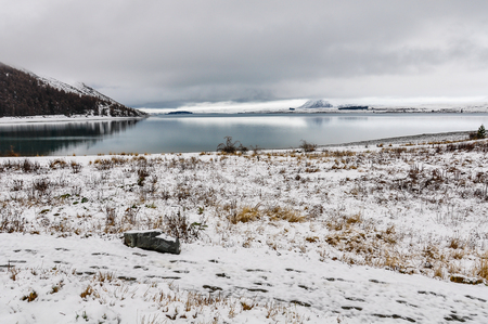 tekapo: View of the snowy shores of Lake Tekapo, New Zealand