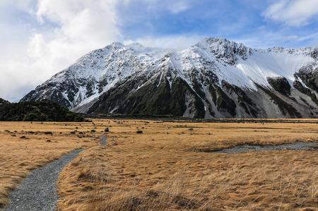 hooker: Following the Hooker Track in the AorakiMount Cook National Park, New Zealand