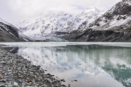 The reflection of Mount Cook on a cloudy day in the AorakiMount Cook National Park, New Zealand