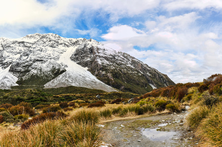 Winter landscape in the AorakiMount Cook National Park, New Zealand