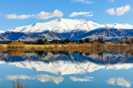 snowy mountains: Reflection of the snowy mountains in a lake near Fairlie in the Southern Island, New Zealand