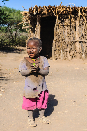 hunter gatherer: Cute kid from a datoga tribe at Lake Eyasi, Tanzania Editorial