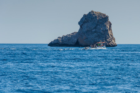 The rock formations of the Medes Islands near Estartit on the Costa Brava, Spain