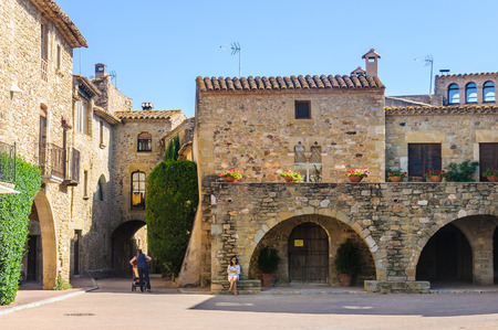 Medieval streets in the Catalan village of Monells, Spain