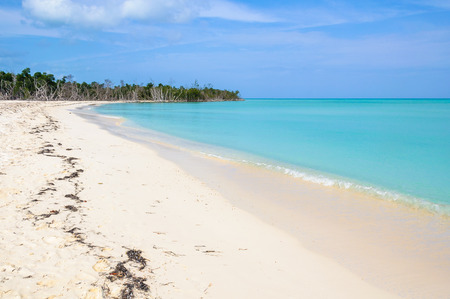 secluded: Alone in a secluded white sand beach in the tropical Cayo Levisa Island in Cuba Stock Photo